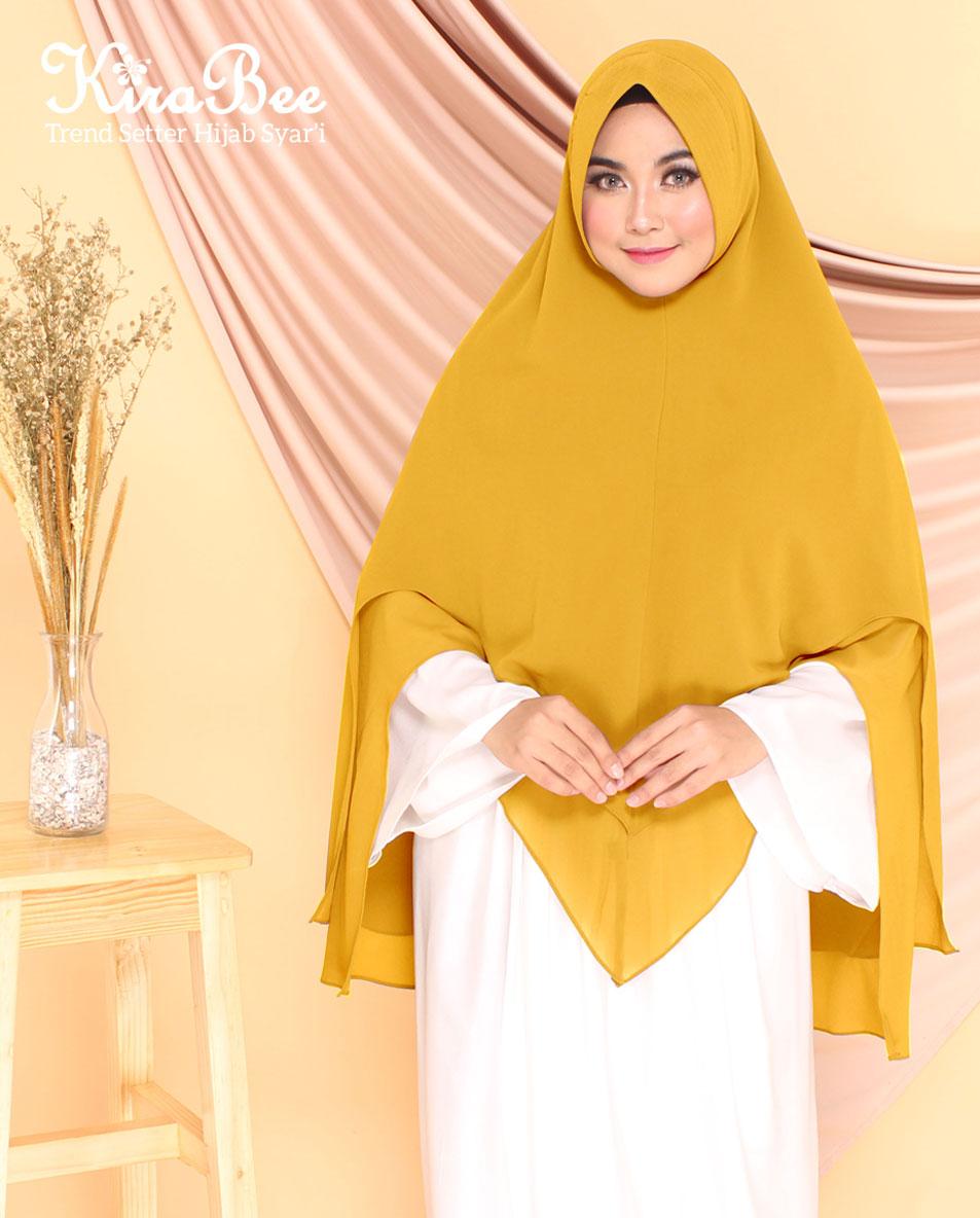 Jilbab Instan Bahan Ceruti Baby Doll Premium Zelda Gold Yellow